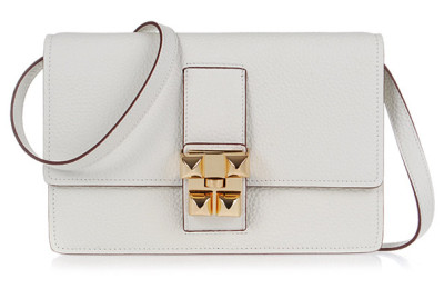 Hermes white jean togo leather gold closure flap bag.