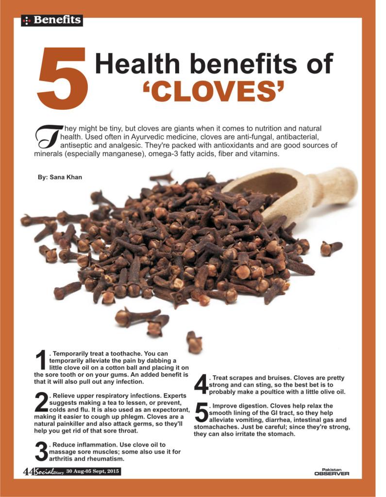 5 health benefits of �cloves� social diary