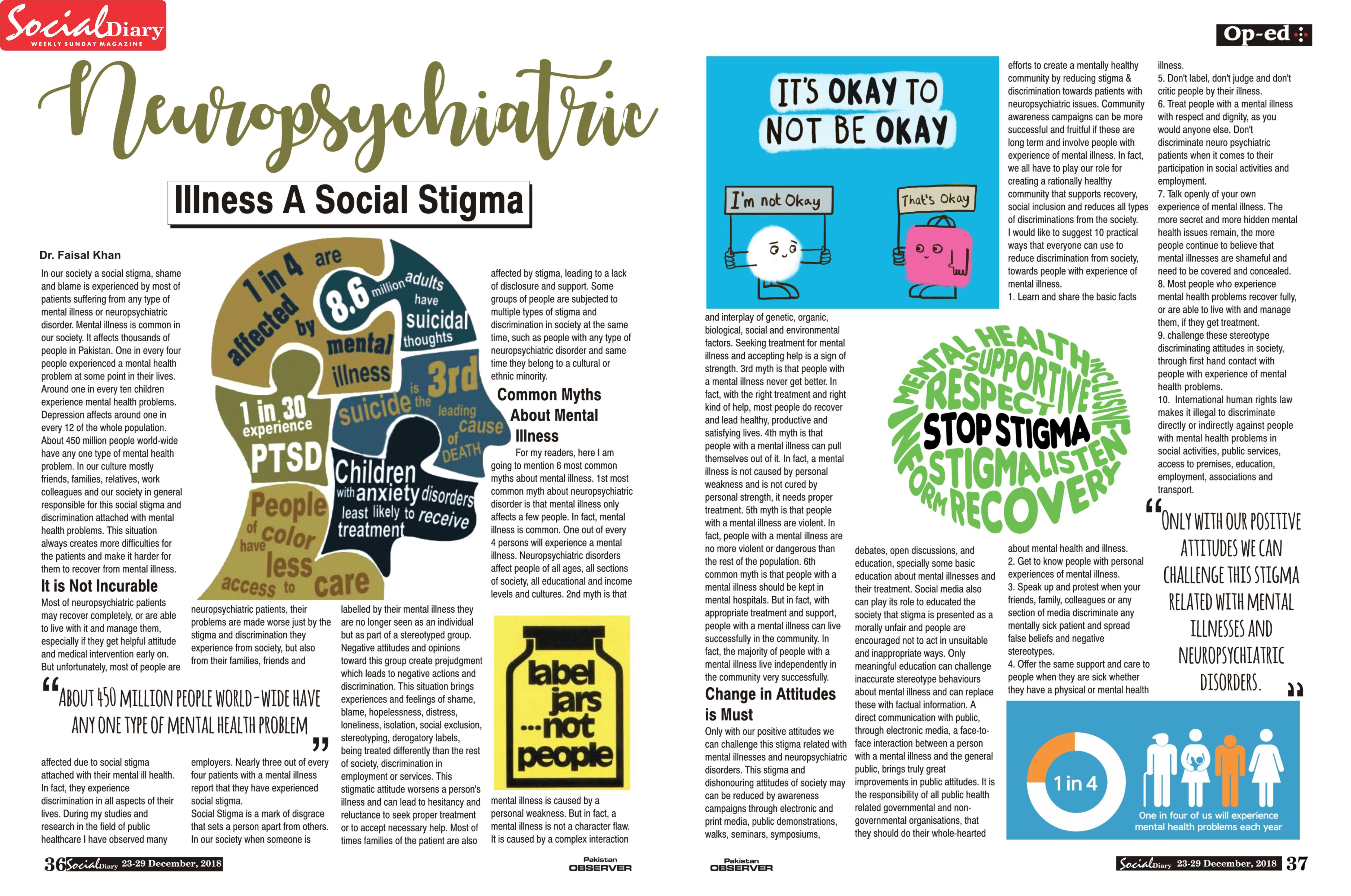 Neuropsychiatric Illness A Social Stigma Social Diary
