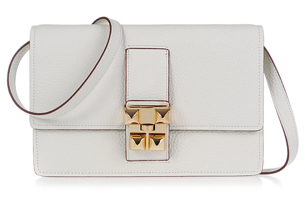 Hermes white jean togo leather gold closure flap bag.